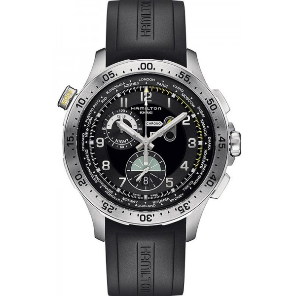 Buy Hamilton Men's Watch Khaki Aviation Worldtimer Chrono Quartz H76714335